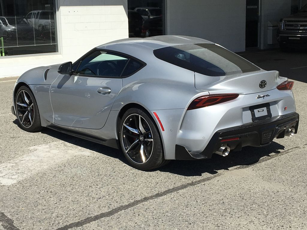 Silver[Tungsten] 2021 Toyota GR Supra 3.0 Left Rear Corner Photo in Kelowna BC