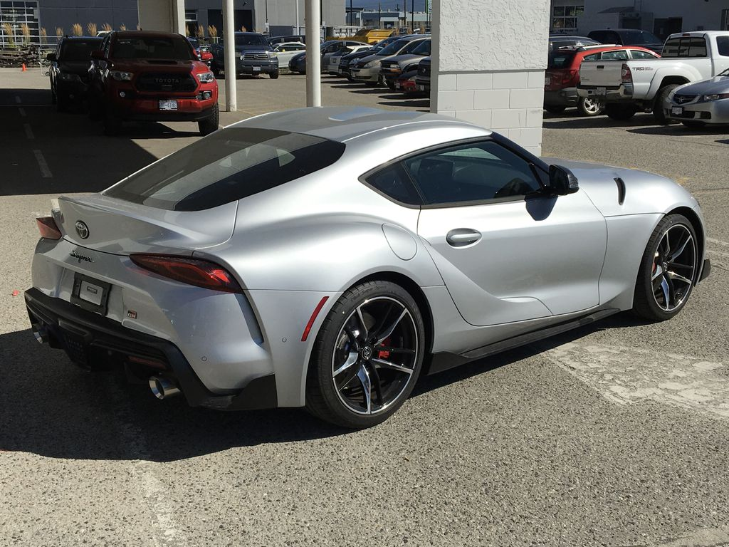 Silver[Tungsten] 2021 Toyota GR Supra 3.0 Right Rear Corner Photo in Kelowna BC