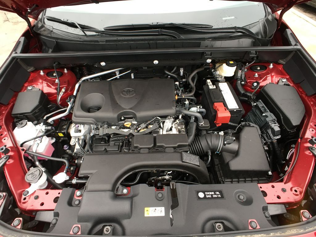 Red[Ruby Flare Pearl] 2020 Toyota RAV4 AWD XLE Premium Package R1RFVT BD Engine Compartment Photo in Brampton ON