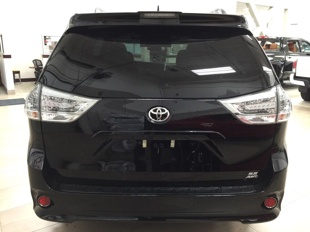 Black[Midnight Black Metallic] 2020 Toyota Sienna SE AWD Rear of Vehicle Photo in Sherwood Park AB