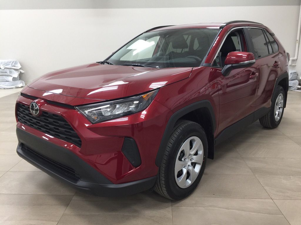 Red[Ruby Flare Pearl] 2020 Toyota RAV4 LE AWD Left Front Corner Photo in Sherwood Park AB