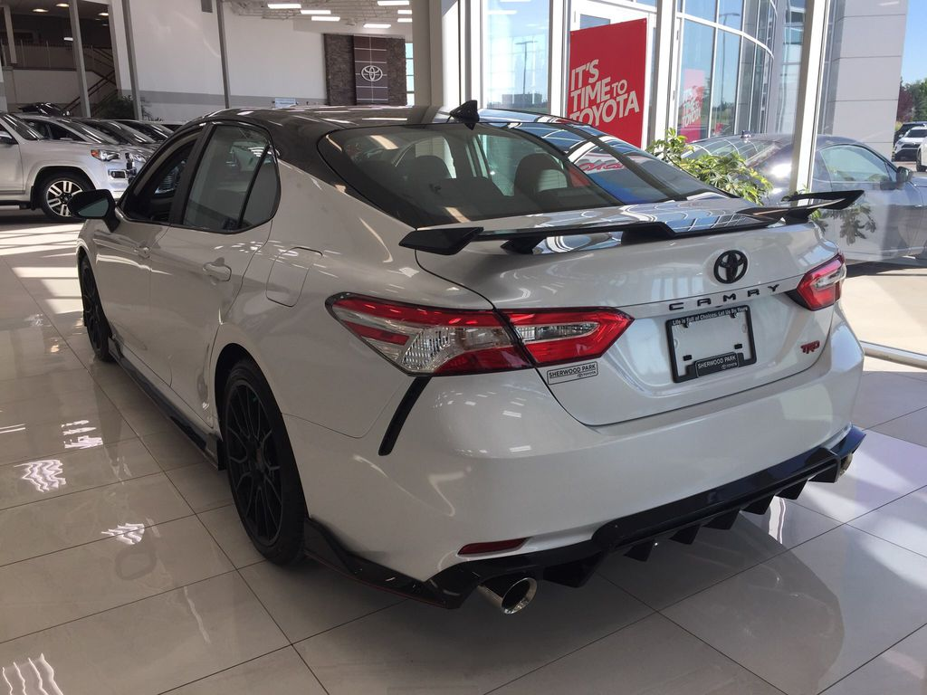 White[Wind Chill w/Black Roof] 2020 Toyota Camry TRD Left Rear Corner Photo in Sherwood Park AB