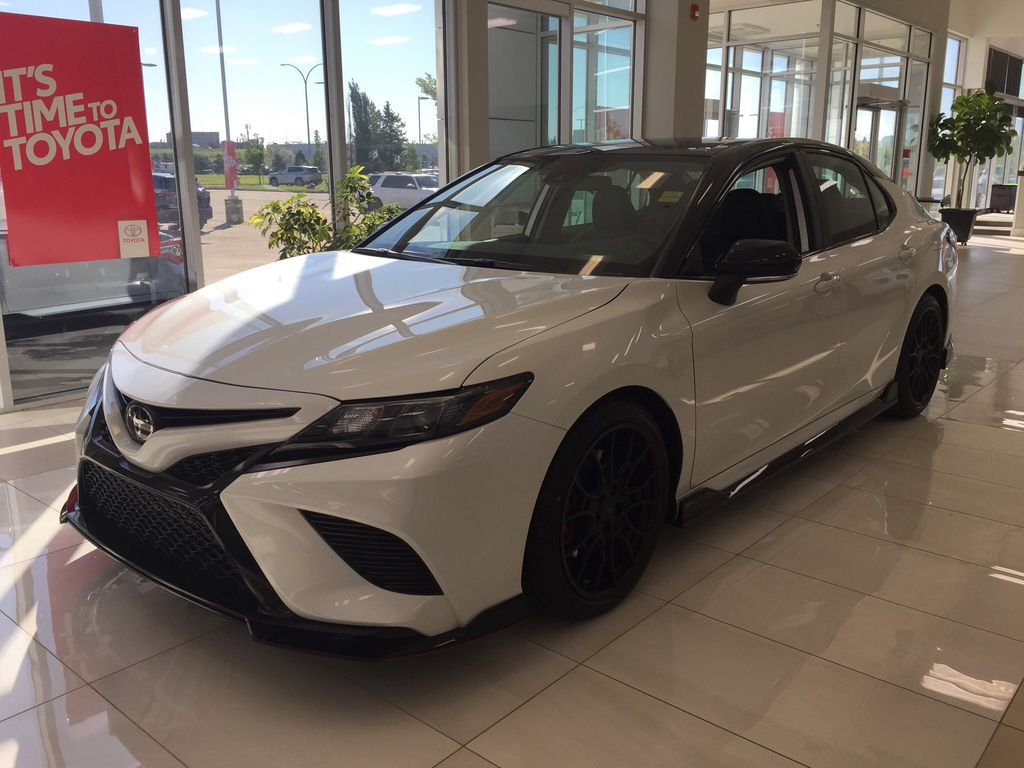 White[Wind Chill w/Black Roof] 2020 Toyota Camry TRD Left Front Corner Photo in Sherwood Park AB