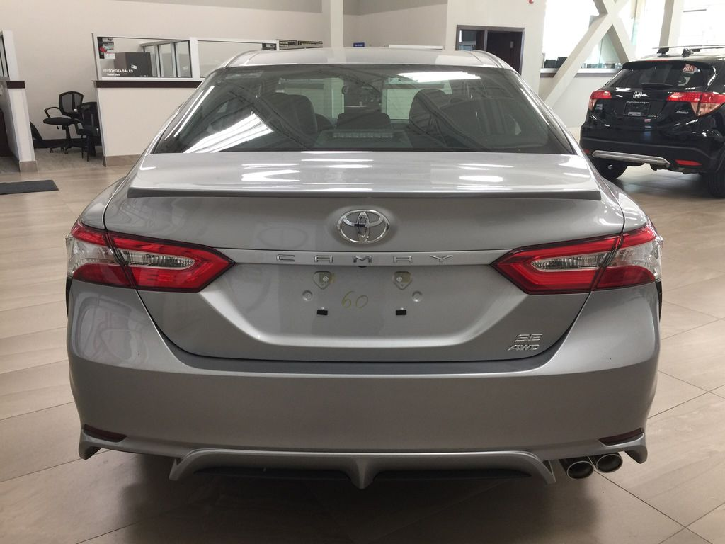 Silver[Celestial Silver Metallic] 2020 Toyota Camry SE Rear of Vehicle Photo in Sherwood Park AB