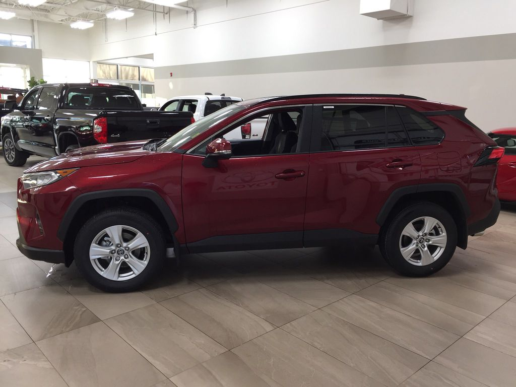 Red[Ruby Flare Pearl] 2020 Toyota RAV4 XLE FWD Left Side Photo in Sherwood Park AB