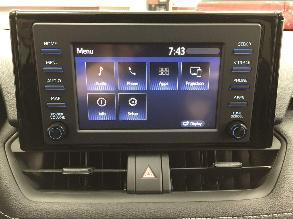 Red[Ruby Flare Pearl] 2020 Toyota RAV4 XLE FWD Infotainment Closeup Photo in Sherwood Park AB