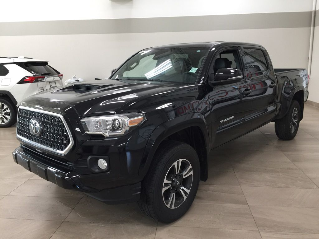 Black[Midnight Black Metallic] 2019 Toyota Tacoma TRD Sport Premium Upgrade Left Front Corner Photo in Sherwood Park AB