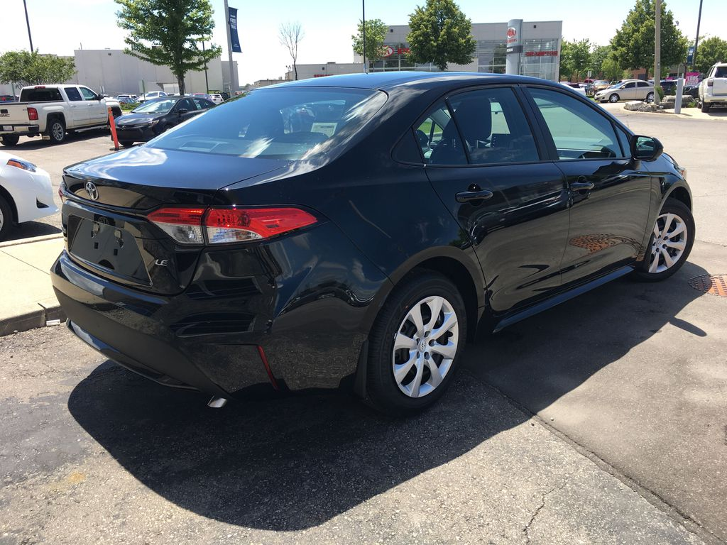 Black[Black Sand Pearl] 2020 Toyota Corolla LE Standard Package BPRBLC AM Right Rear Corner Photo in Brampton ON