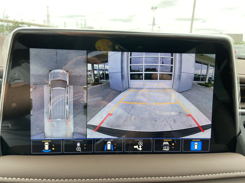 White[Iridescent Pearl Tricoat] 2021 Chevrolet Tahoe High Country Backup Camera Closeup Photo in Calgary AB