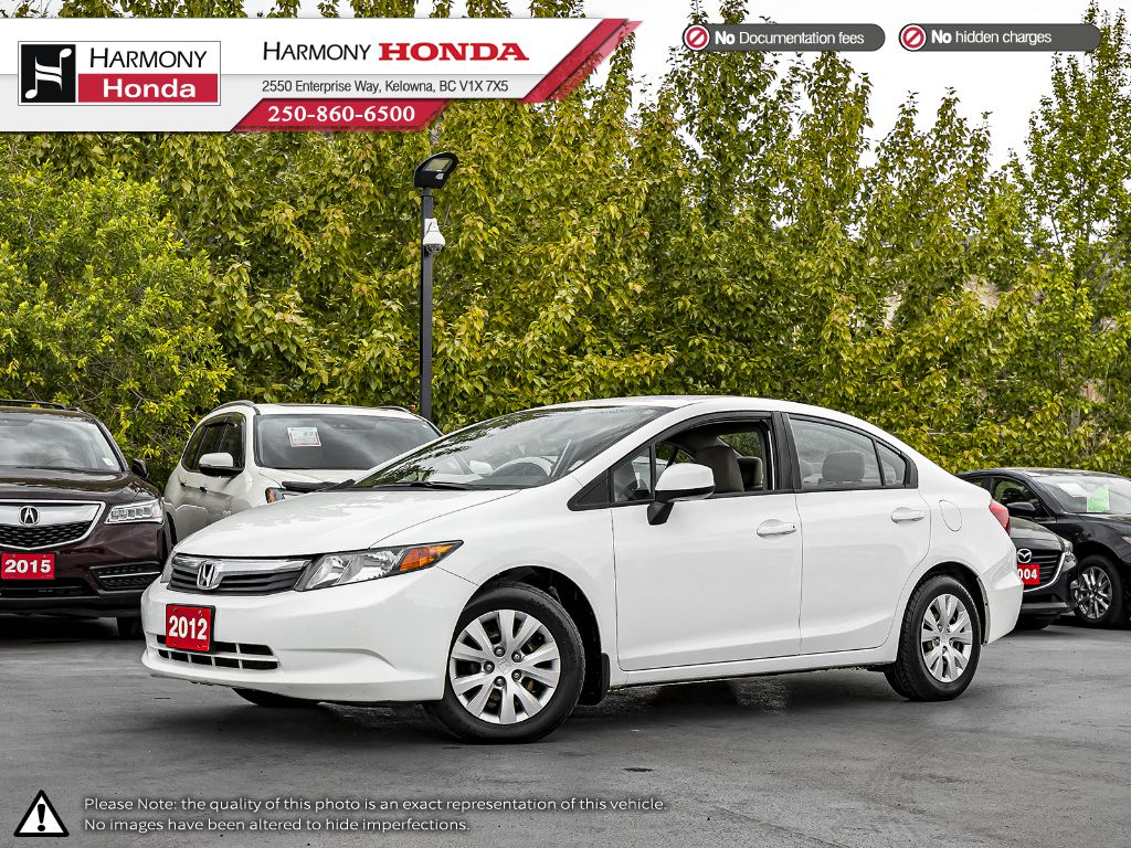 Pre-Owned 2012 Honda Civic Sedan LX - BC VEHICLE - NO ACCIDENTS - FUEL EFFICIENT - RELIABLE - NEW BATTERY