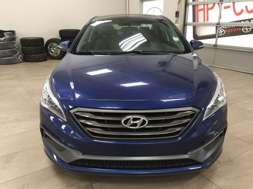 Blue[Coast Blue Pearl] 2016 Hyundai Sonata Sport Tech Front Vehicle Photo in Sherwood Park AB