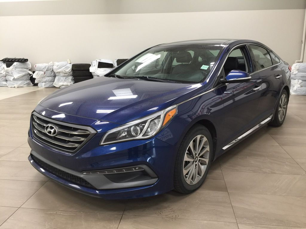Blue[Coast Blue Pearl] 2016 Hyundai Sonata Sport Tech Left Front Corner Photo in Sherwood Park AB