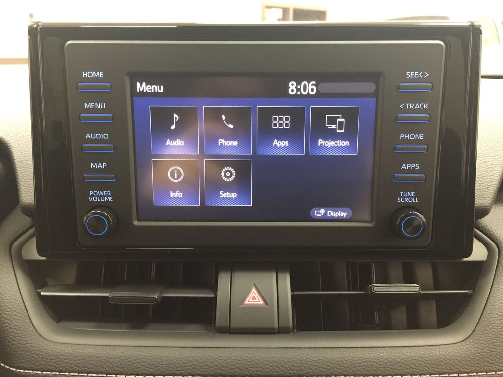 Red[Ruby Flare Pearl] 2020 Toyota RAV4 XLE Hybrid Infotainment Closeup Photo in Sherwood Park AB