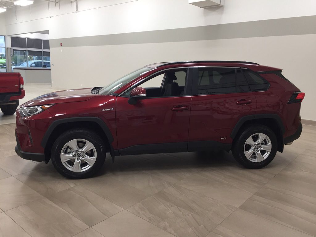 Red[Ruby Flare Pearl] 2020 Toyota RAV4 XLE Hybrid Left Side Photo in Sherwood Park AB