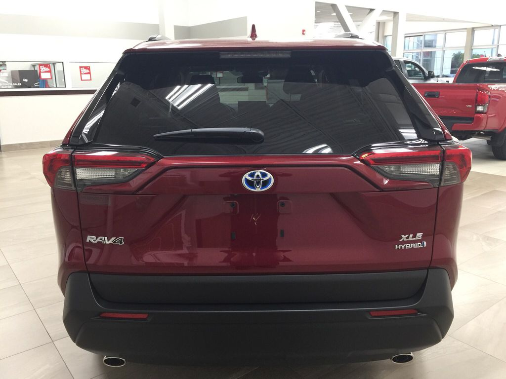 Red[Ruby Flare Pearl] 2020 Toyota RAV4 XLE Hybrid Rear of Vehicle Photo in Sherwood Park AB