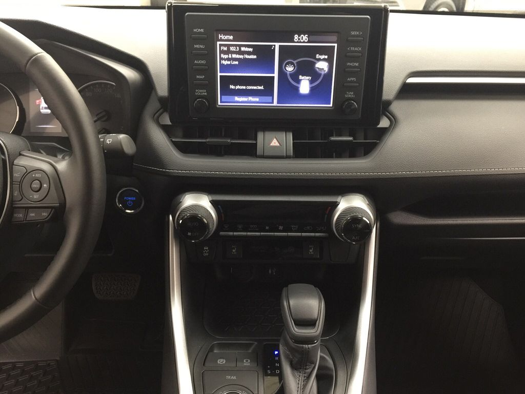 Red[Ruby Flare Pearl] 2020 Toyota RAV4 XLE Hybrid Central Dash Options Photo in Sherwood Park AB