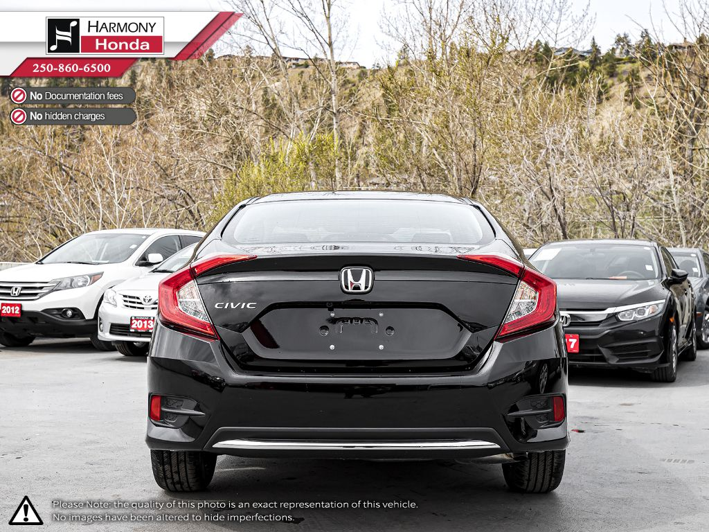 BLACK NH-731P 2020 Honda Civic Sedan Left Rear Corner Photo in Kelowna BC