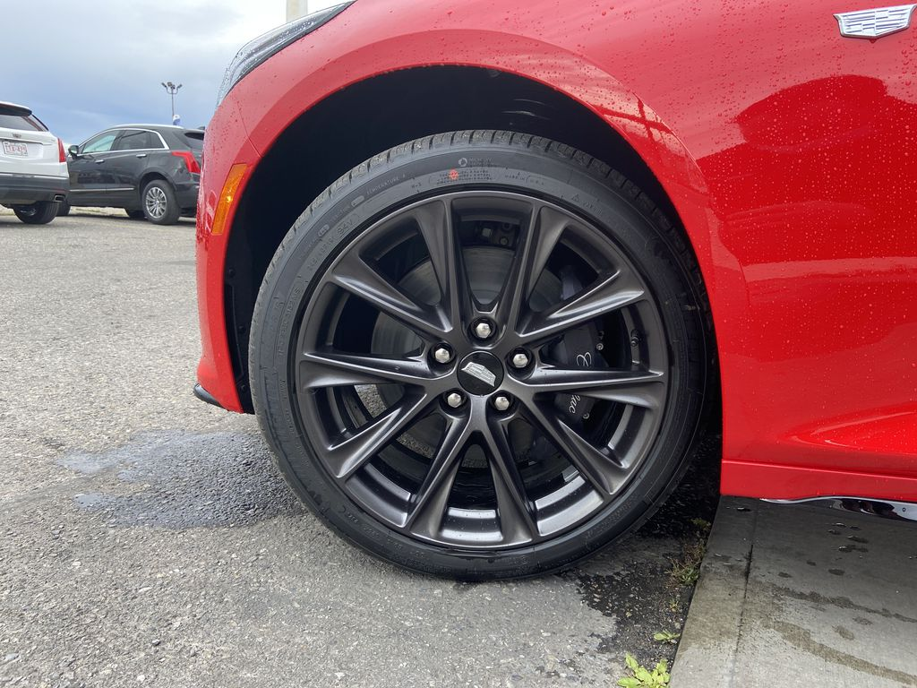Red[Velocity Red] 2020 Cadillac CT5 Sport Left Front Rim and Tire Photo in Calgary AB
