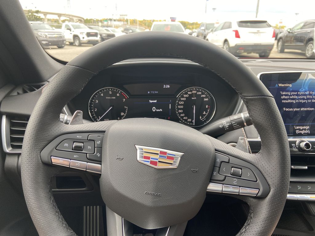 Red[Velocity Red] 2020 Cadillac CT5 Sport Steering Wheel and Dash Photo in Calgary AB