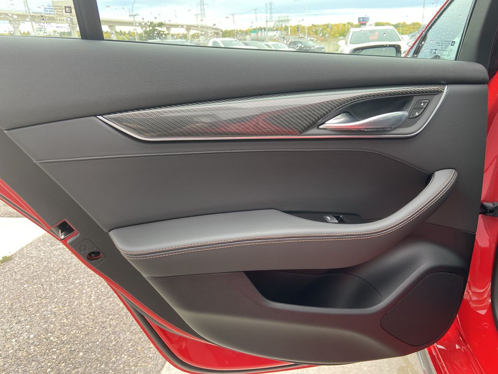 Red[Velocity Red] 2020 Cadillac CT5 Sport Left Rear Interior Door Panel Photo in Calgary AB