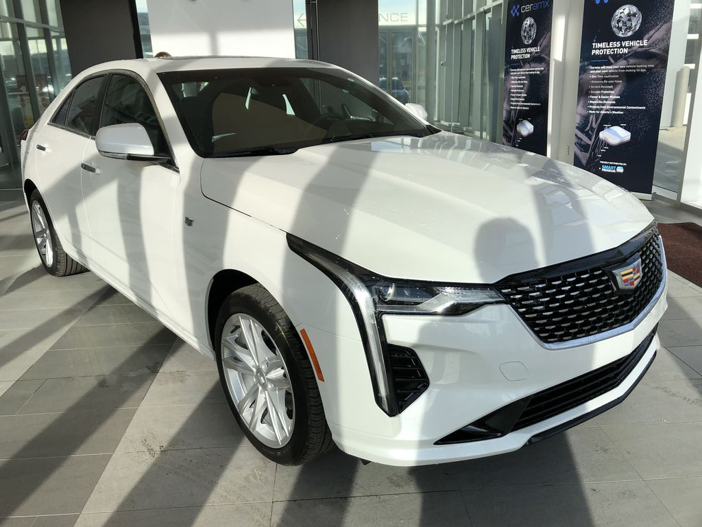 White[Crystal White Tricoat] 2020 Cadillac CT4 Right Front Corner Photo in Edmonton AB
