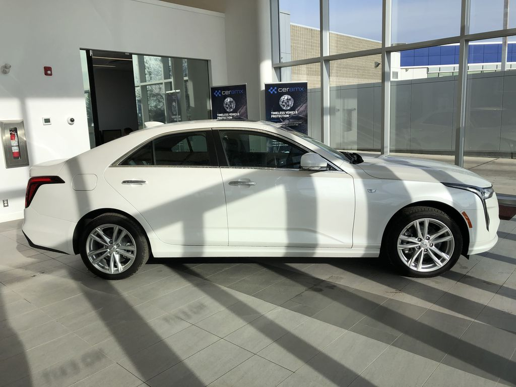 White[Crystal White Tricoat] 2020 Cadillac CT4 Right Side Photo in Edmonton AB