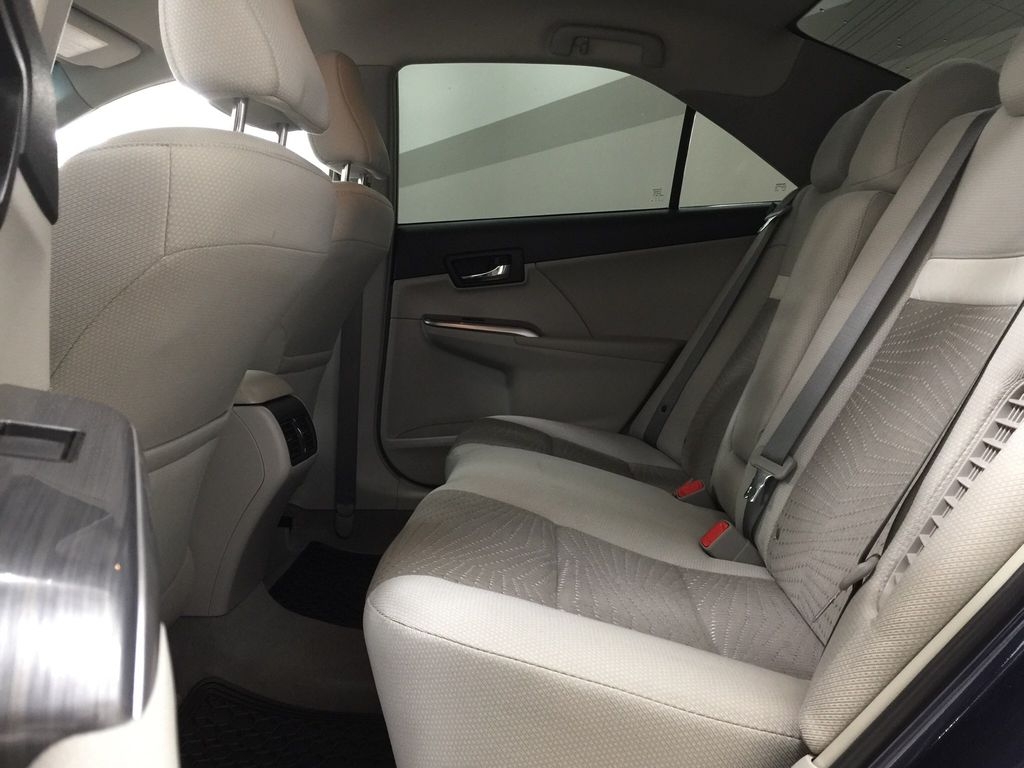 Blue[Parisian Night Pearl] 2014 Toyota Camry Hybrid XLE Left Side Rear Seat  Photo in Sherwood Park AB