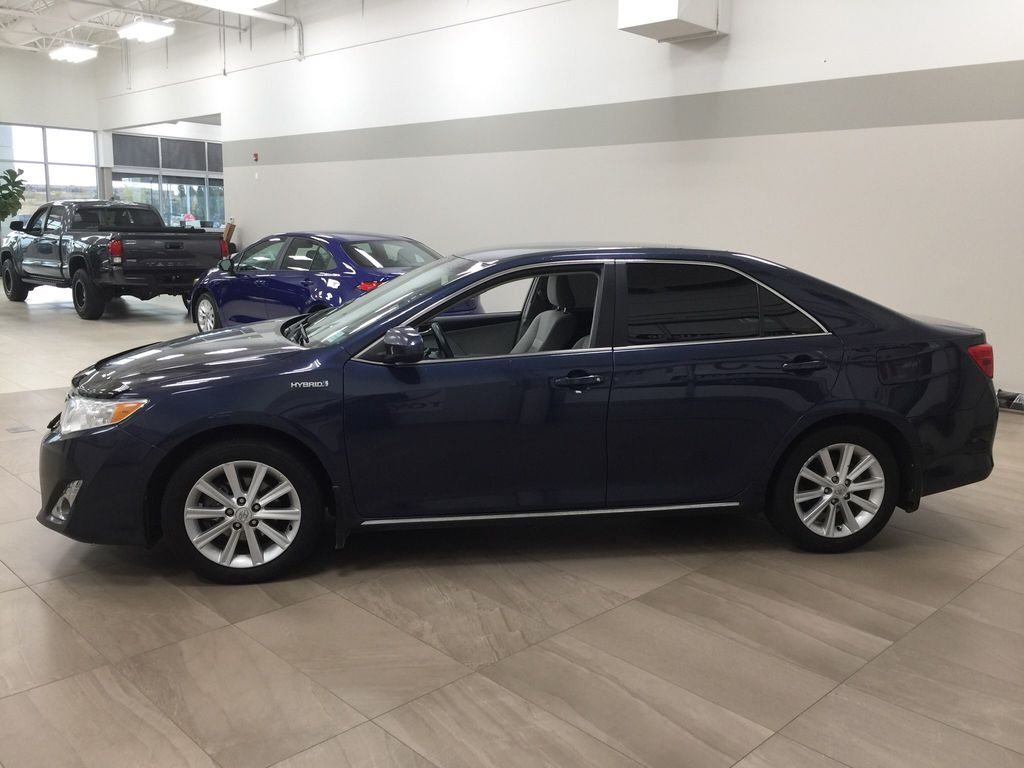 Blue[Parisian Night Pearl] 2014 Toyota Camry Hybrid XLE Left Side Photo in Sherwood Park AB
