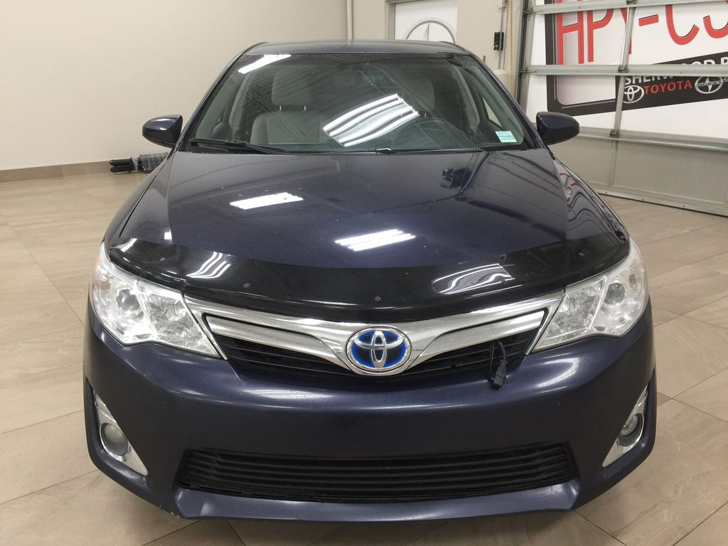 Blue[Parisian Night Pearl] 2014 Toyota Camry Hybrid XLE Front Vehicle Photo in Sherwood Park AB