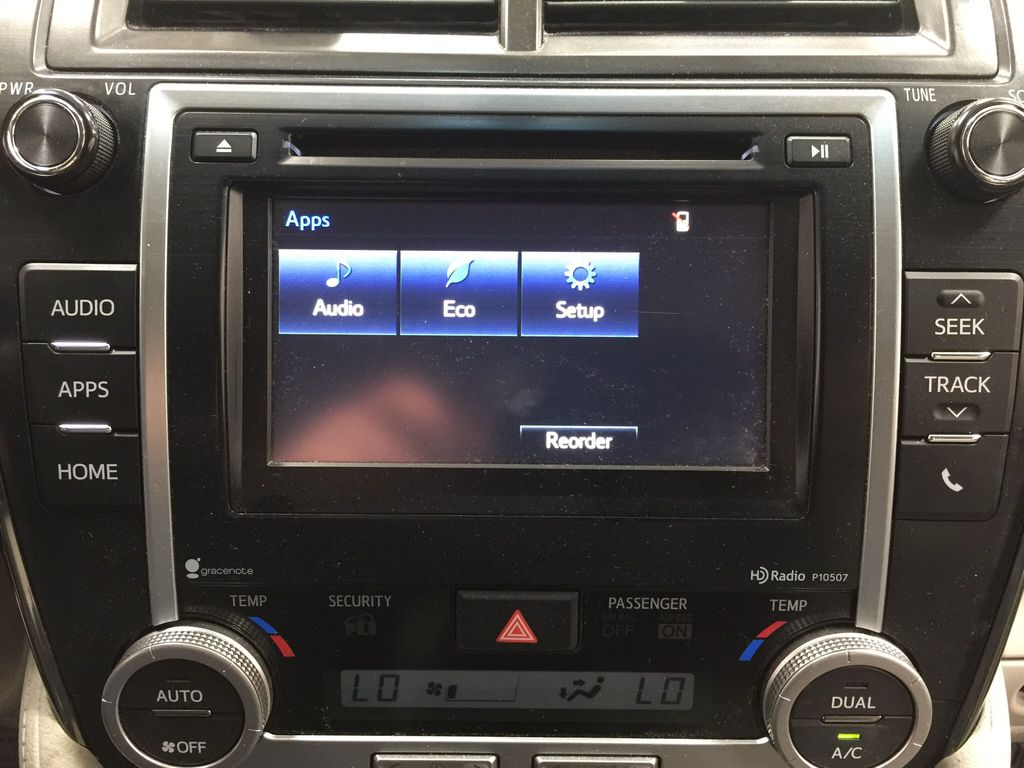 Blue[Parisian Night Pearl] 2014 Toyota Camry Hybrid XLE Infotainment Closeup Photo in Sherwood Park AB