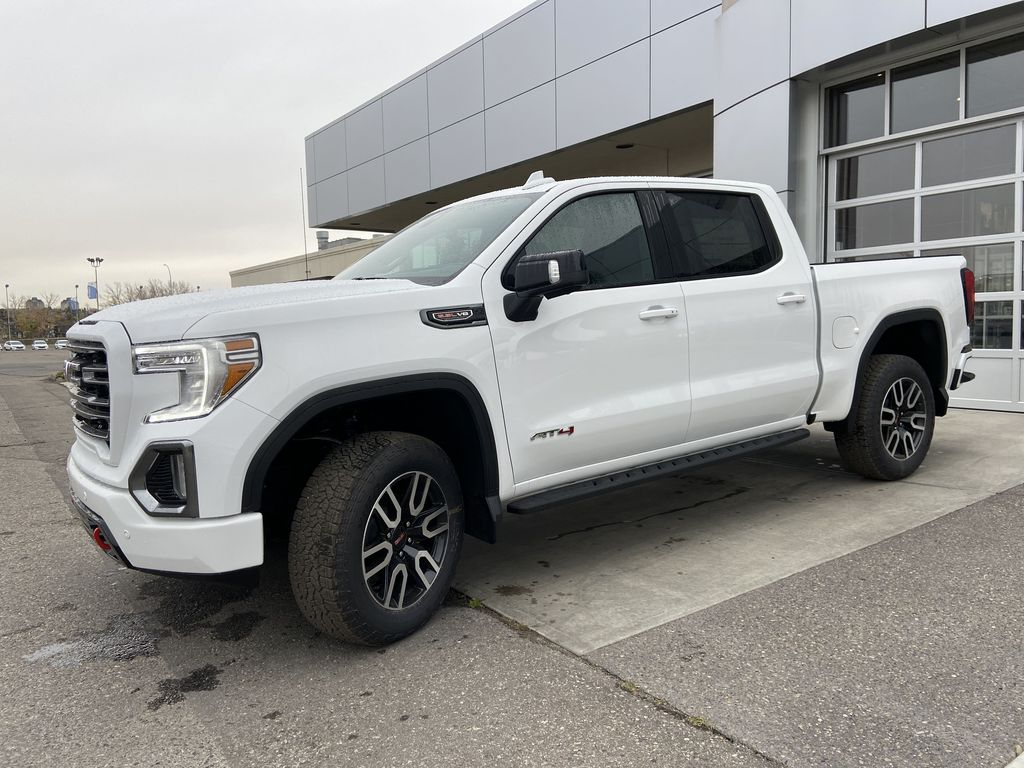White[Summit White] 2021 GMC Sierra 1500 AT4 Left Front Corner Photo in Calgary AB
