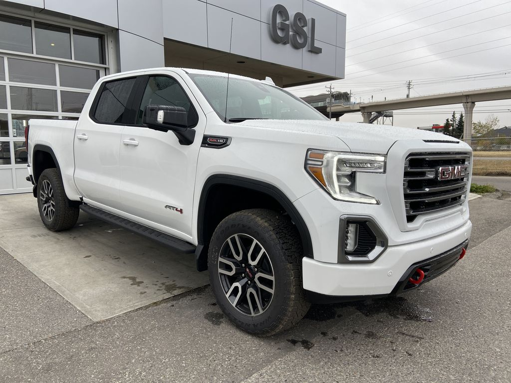 White[Summit White] 2021 GMC Sierra 1500 AT4 Right Front Corner Photo in Calgary AB