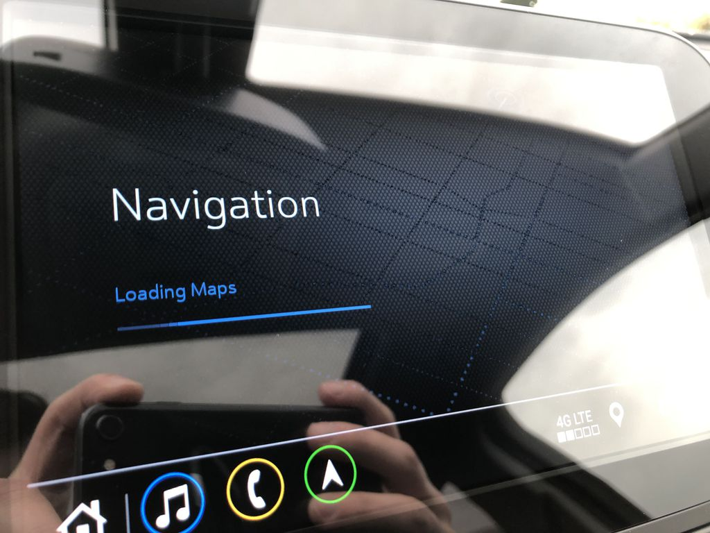 Red[Cajun Red Tintcoat] 2020 Chevrolet Equinox Navigation Screen Closeup Photo in Edmonton AB