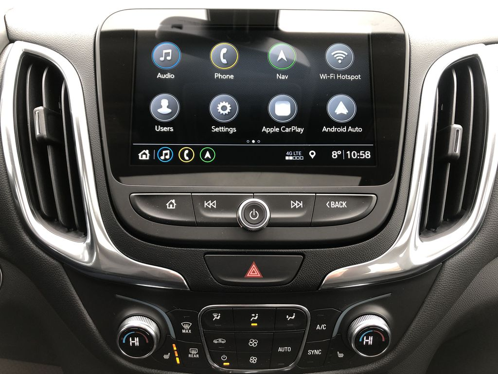 Red[Cajun Red Tintcoat] 2020 Chevrolet Equinox Central Dash Options Photo in Edmonton AB