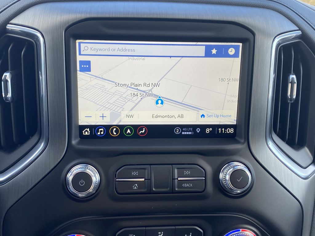 White[White Frost Tricoat] 2021 GMC Sierra 1500 Navigation Screen Closeup Photo in Edmonton AB