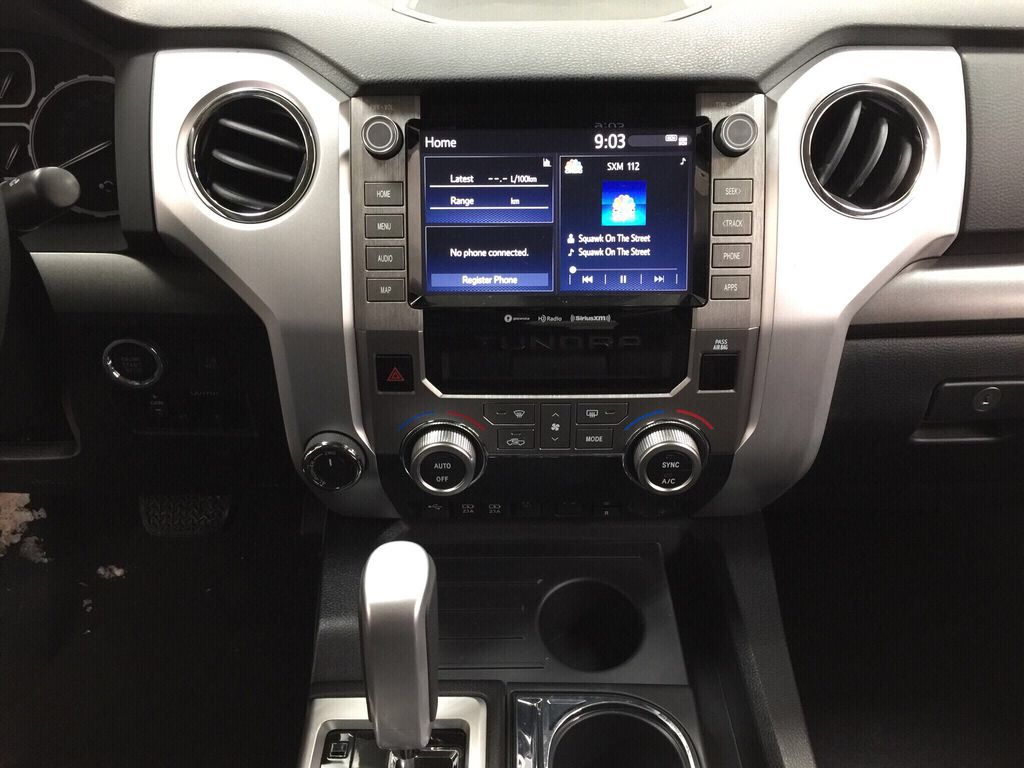 Black[Midnight Black Metallic] 2021 Toyota Tundra TRD Off-Road Central Dash Options Photo in Sherwood Park AB