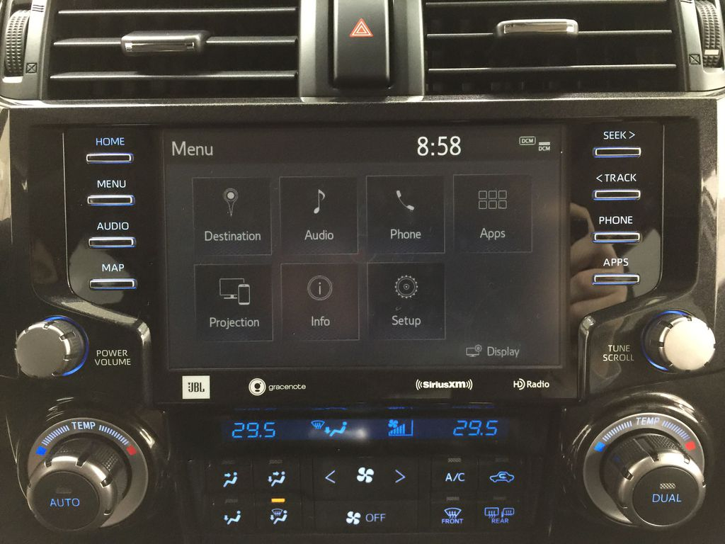 White[Blizzard Pearl] 2020 Toyota 4Runner TRD Pro Infotainment Closeup Photo in Sherwood Park AB