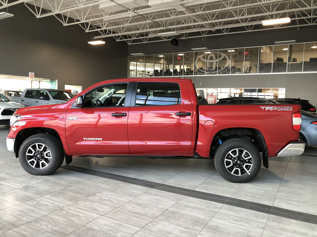 Barcelona Red Metallic 2021 Toyota Tundra 4WD Crewmax TRD Off Road Left Side Photo in Edmonton AB