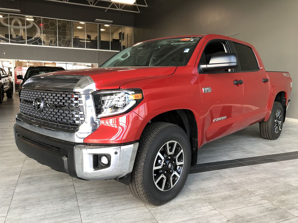 Barcelona Red Metallic 2021 Toyota Tundra 4WD Crewmax TRD Off Road Left Side Rear Seat  Photo in Edmonton AB