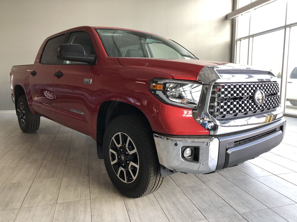 Barcelona Red Metallic 2021 Toyota Tundra 4WD Crewmax TRD Off Road Left Front Interior Photo in Edmonton AB