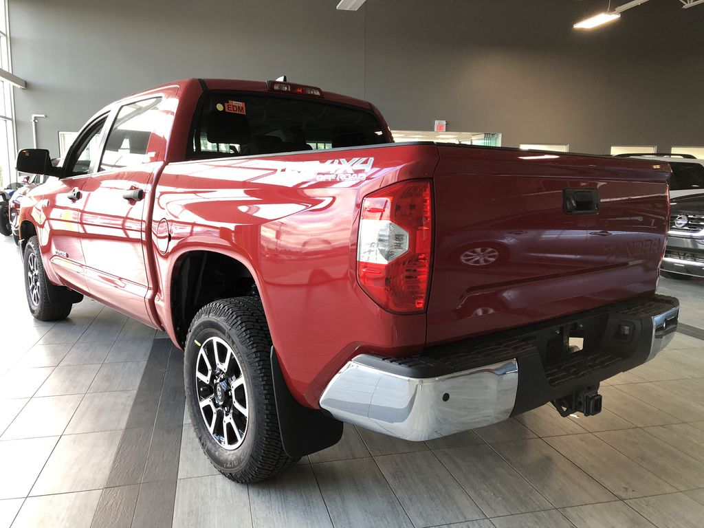 Barcelona Red Metallic 2021 Toyota Tundra 4WD Crewmax TRD Off Road Left Rear Corner Photo in Edmonton AB