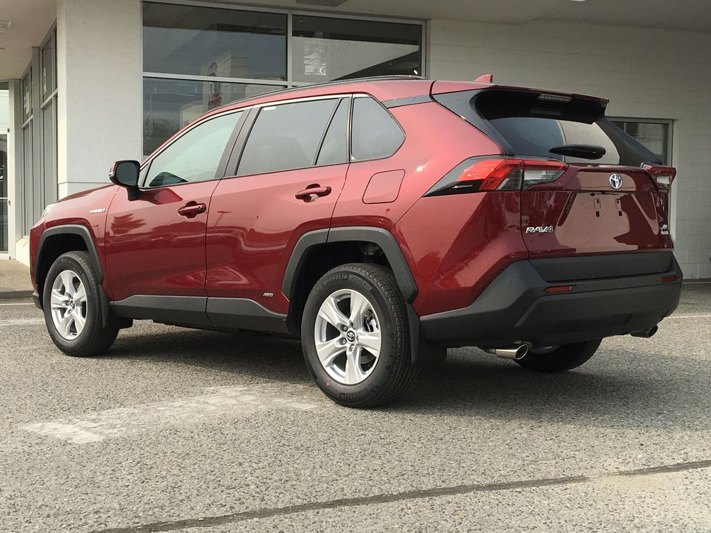 Red[Ruby Flare Pearl] 2021 Toyota RAV4 Hybrid  XLE Left Rear Corner Photo in Kelowna BC
