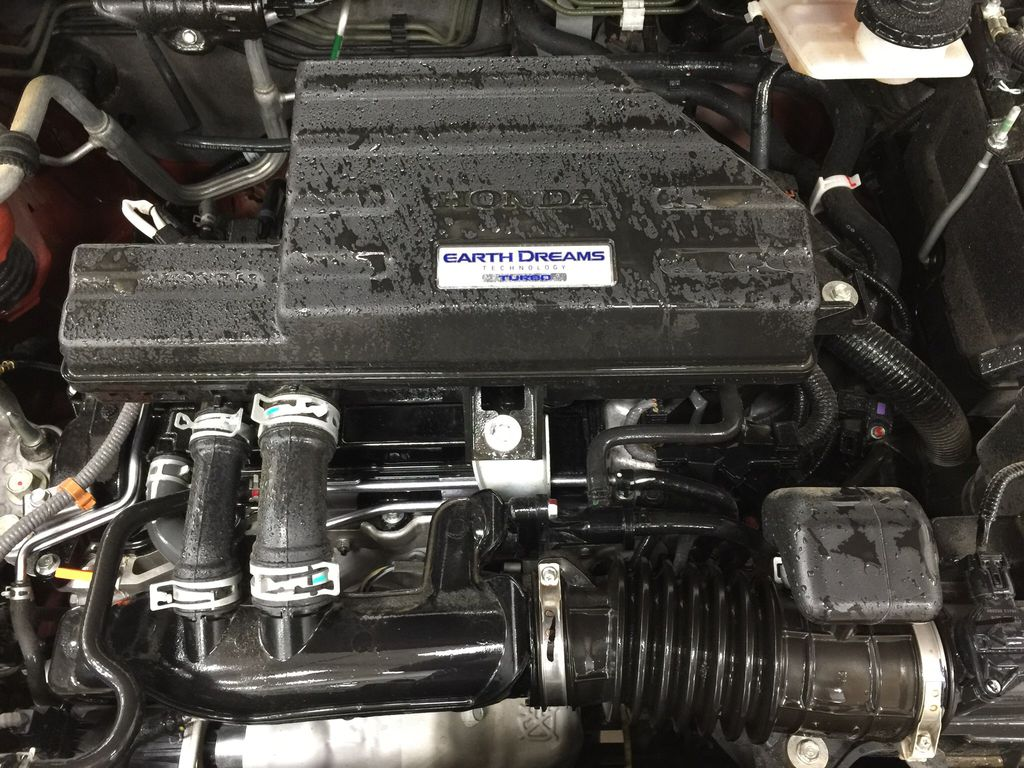 Red[Molten Lava Pearl] 2019 Honda CR-V Touring AWD Engine Compartment Photo in Sherwood Park AB