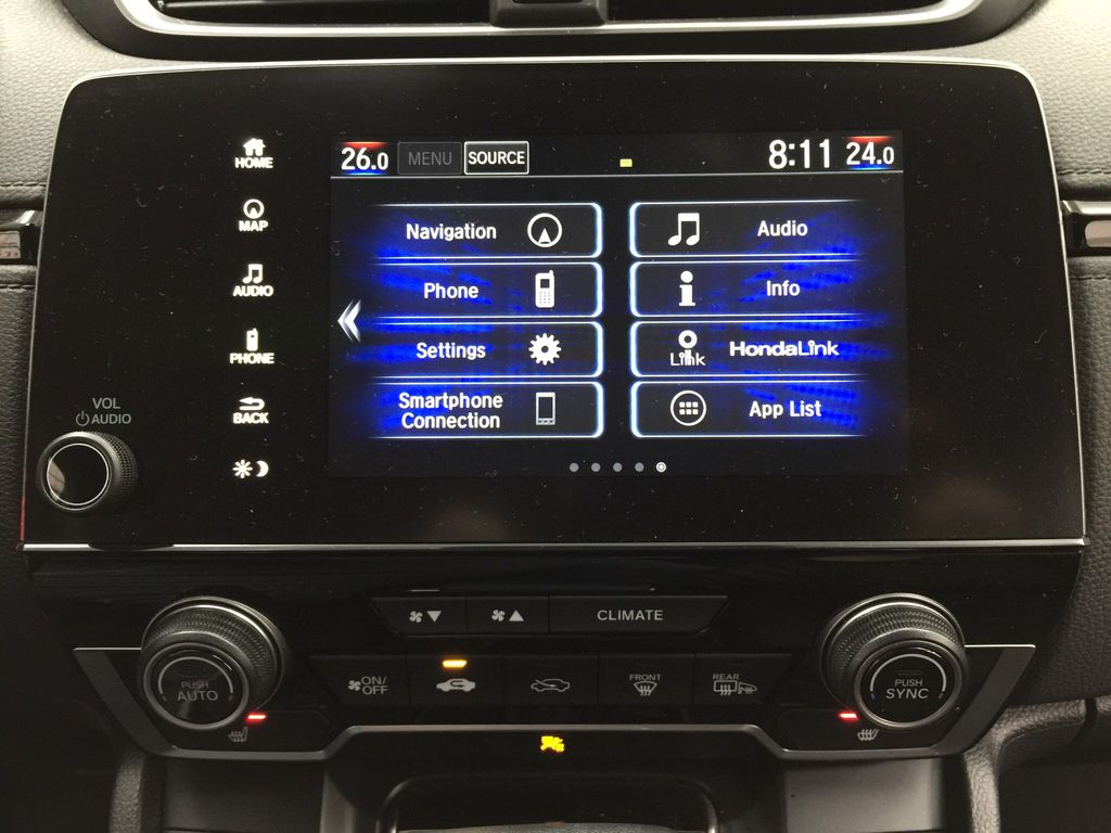 Red[Molten Lava Pearl] 2019 Honda CR-V Touring AWD Infotainment Closeup Photo in Sherwood Park AB