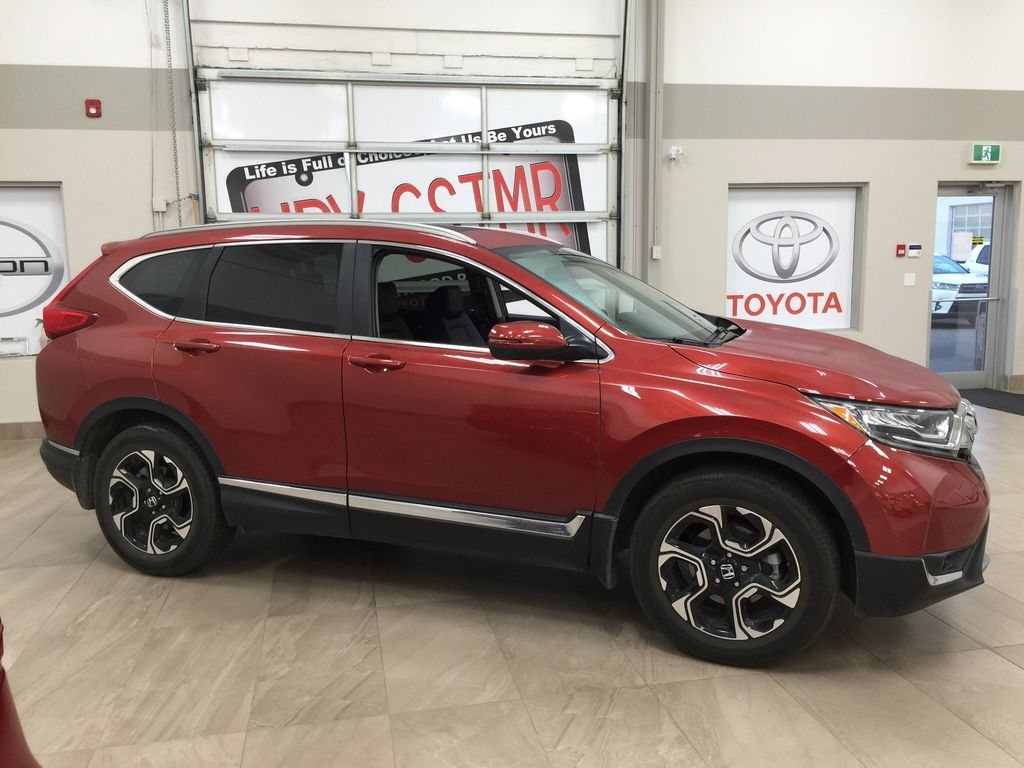 Red[Molten Lava Pearl] 2019 Honda CR-V Touring AWD Right Side Photo in Sherwood Park AB