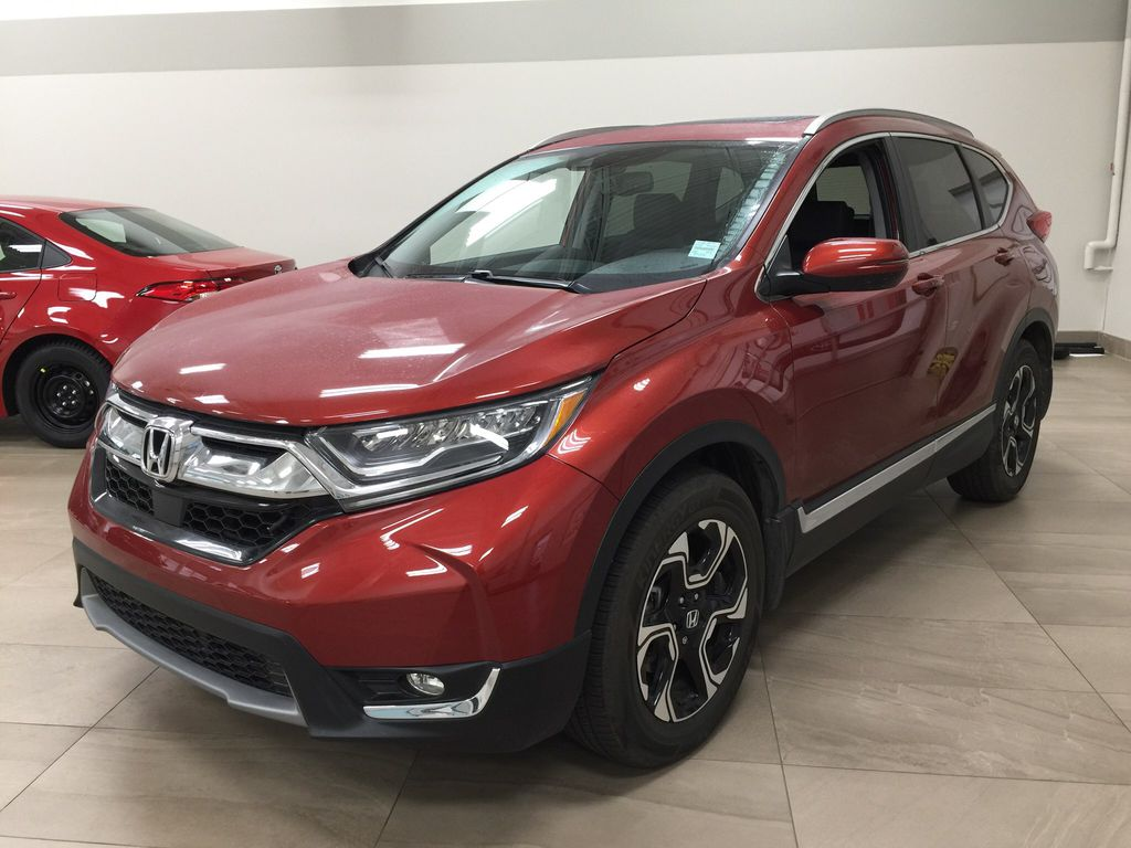 Red[Molten Lava Pearl] 2019 Honda CR-V Touring AWD Left Front Corner Photo in Sherwood Park AB