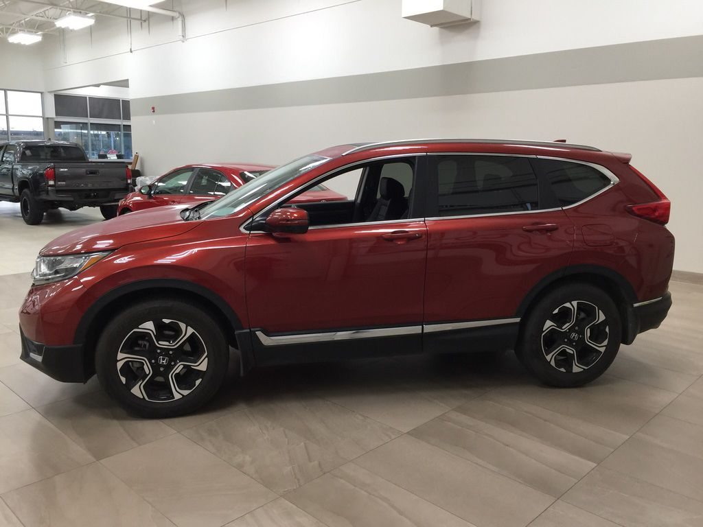 Red[Molten Lava Pearl] 2019 Honda CR-V Touring AWD Left Side Photo in Sherwood Park AB
