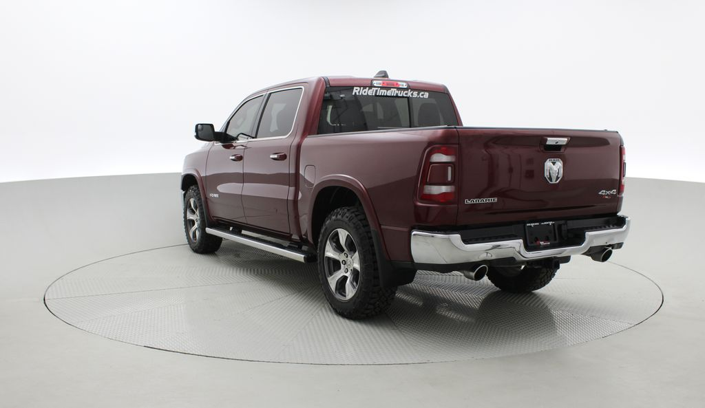 Red[Red Pearl] Lifted 2019 Ram 1500 Laramie 4WD - Pano Roof, 12in Display, Crew Cab Right  Rear Corner Photo in Winnipeg MB