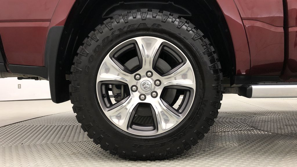 Red[Red Pearl] Lifted 2019 Ram 1500 Laramie 4WD - Pano Roof, 12in Display, Crew Cab Right Rear Rim and Tire Photo in Winnipeg MB