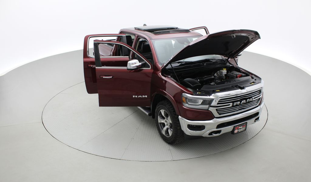 Red[Red Pearl] Lifted 2019 Ram 1500 Laramie 4WD - Pano Roof, 12in Display, Crew Cab Left Front Corner Photo in Winnipeg MB